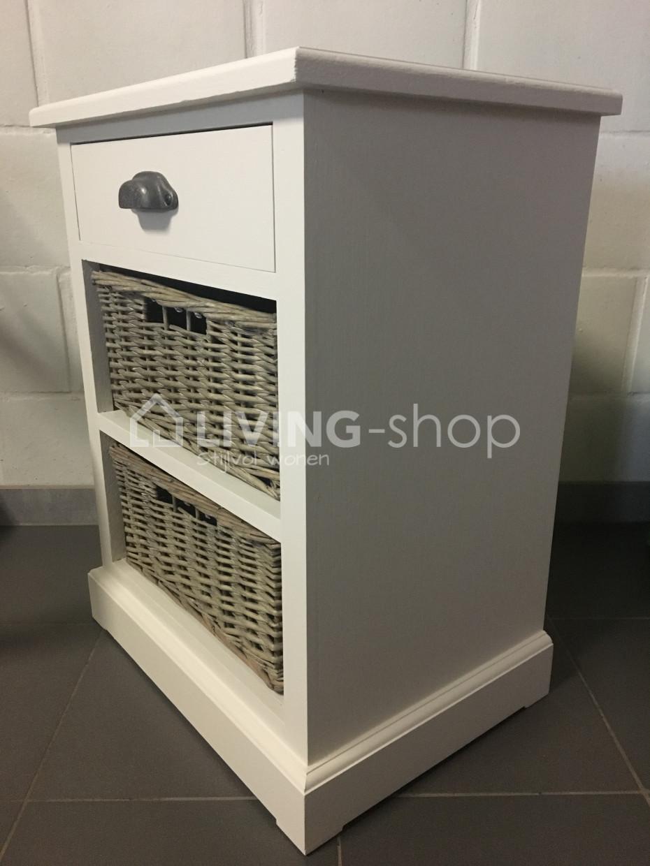 Blanc table de chevet avec paniers de style rustique en - Table de chevet faible largeur ...