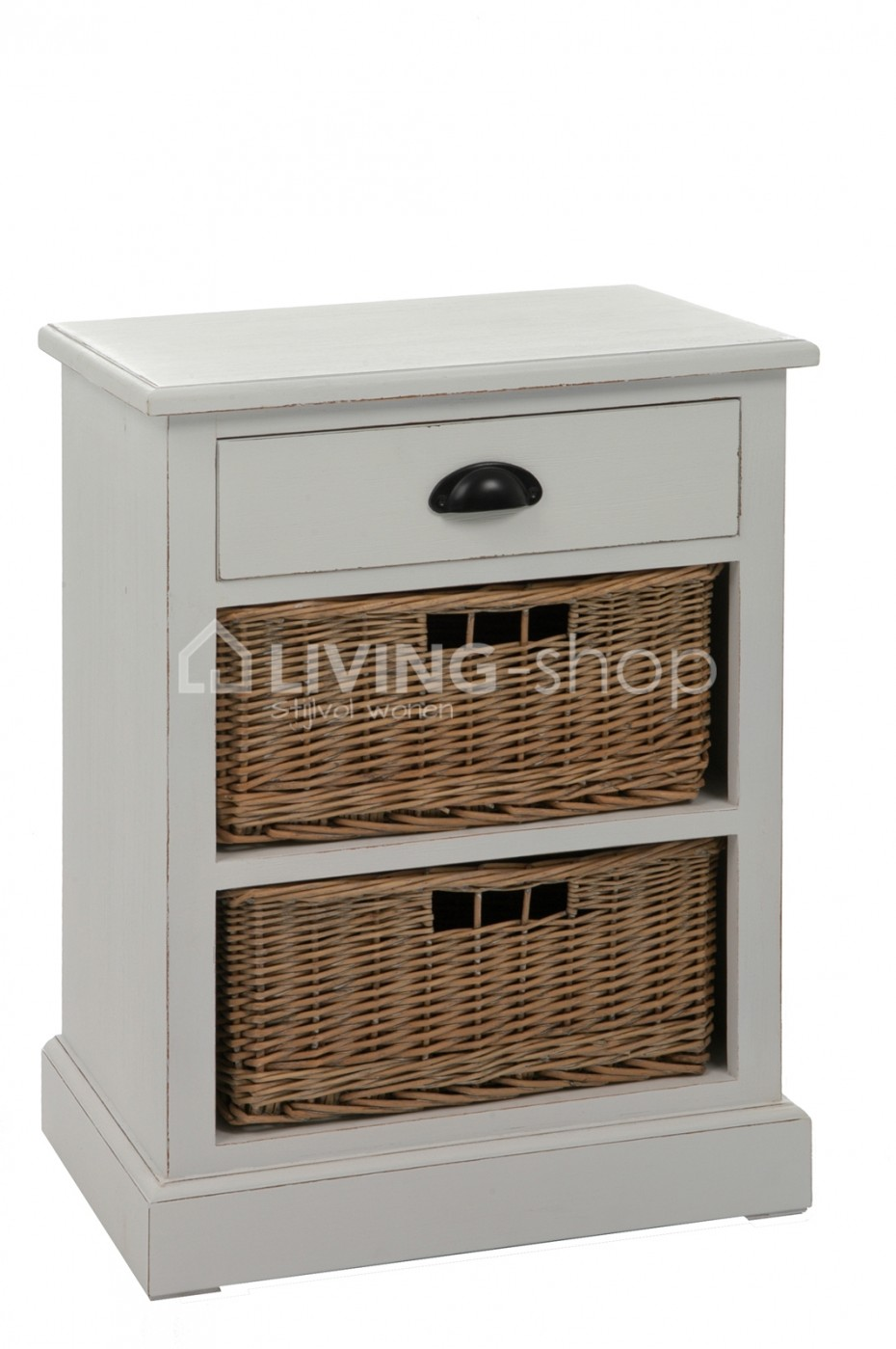 White Bedside Table With Baskets Country Style