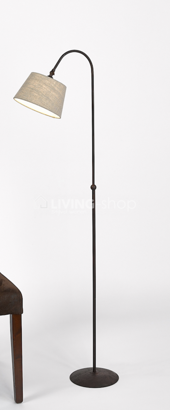 landelijke-stijl-staanlamp-roestkleur-met-plisse-kap
