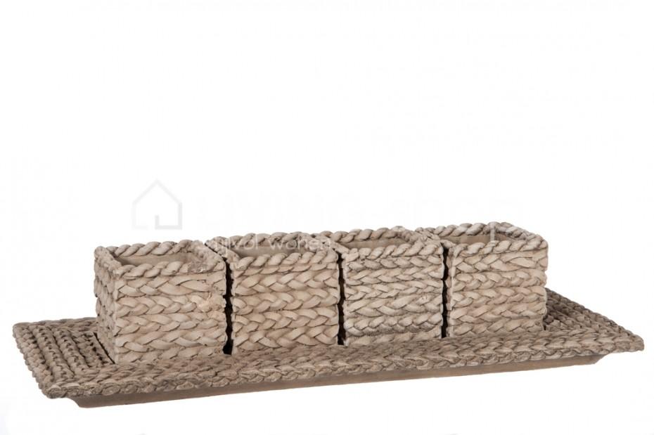 schaal-met-4-potjes-vlechtstructuur-j-line