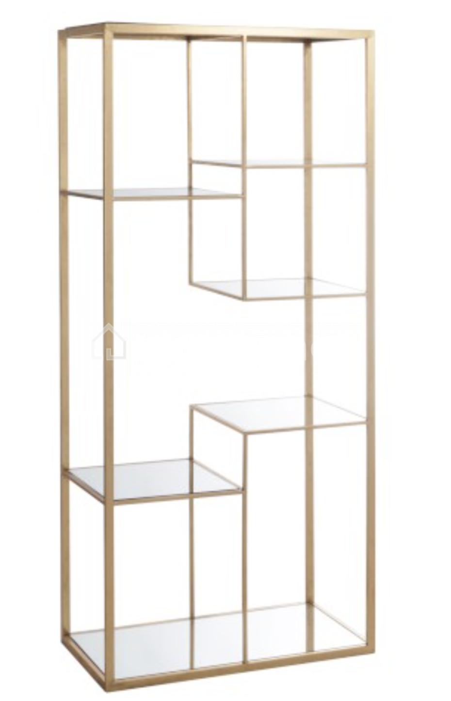 Rack 4 shelves metal / glass gold J-Line online | LIVING-shop online ...