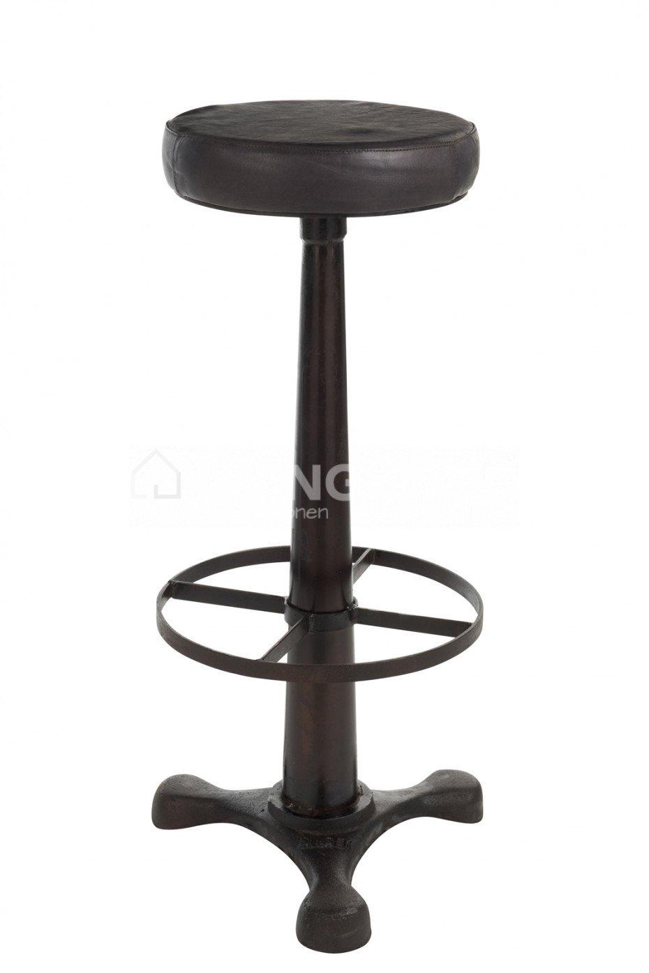 Awe Inspiring Black Leather Bar Stools Metal Black To Buy Online J Line Creativecarmelina Interior Chair Design Creativecarmelinacom