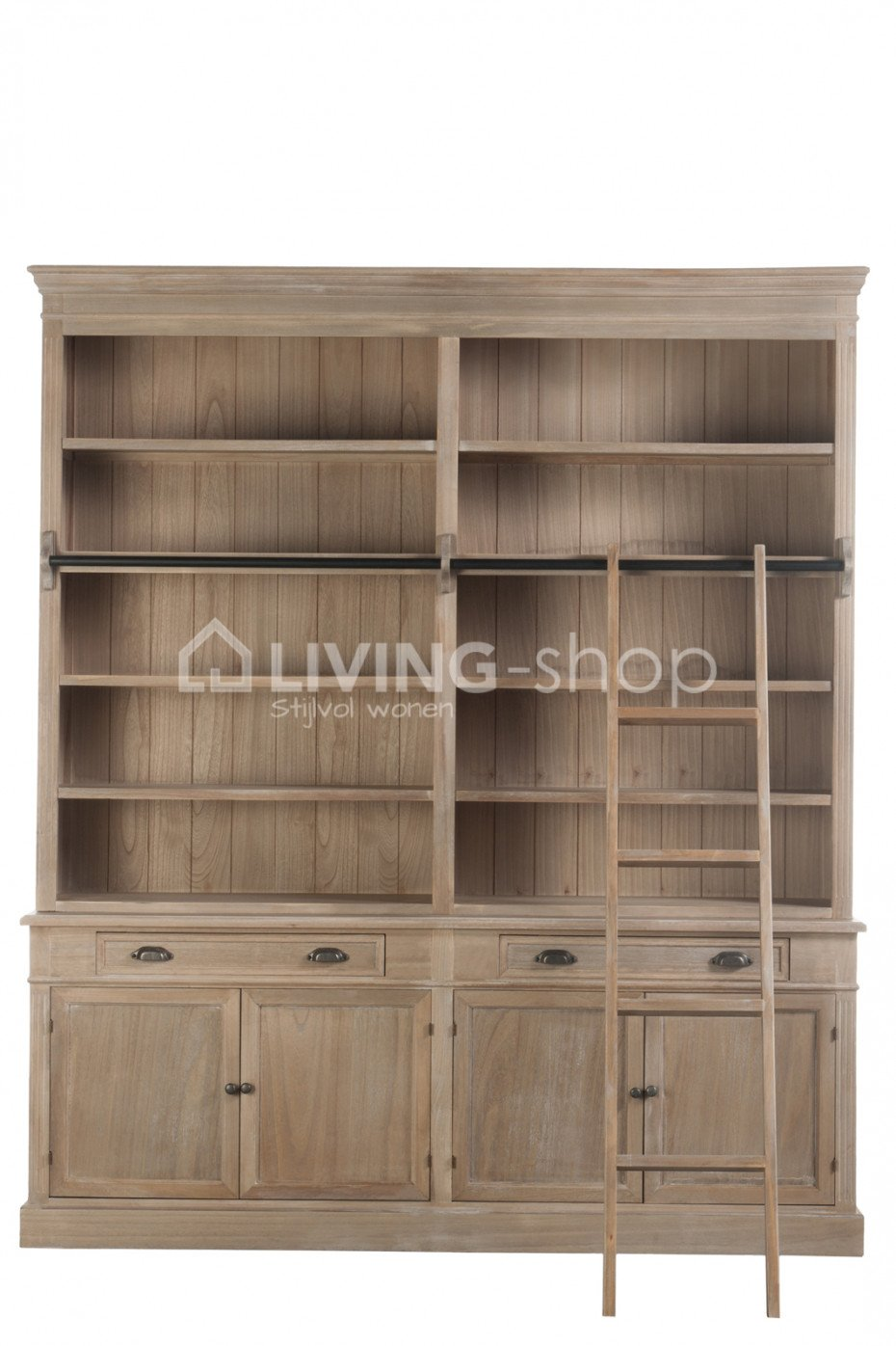 Country Style Bookcase With Ladder