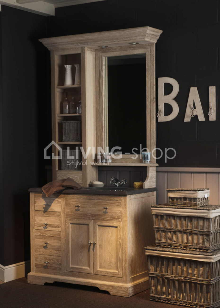 meuble de salle de bain en ch ne rustique avec armoire. Black Bedroom Furniture Sets. Home Design Ideas