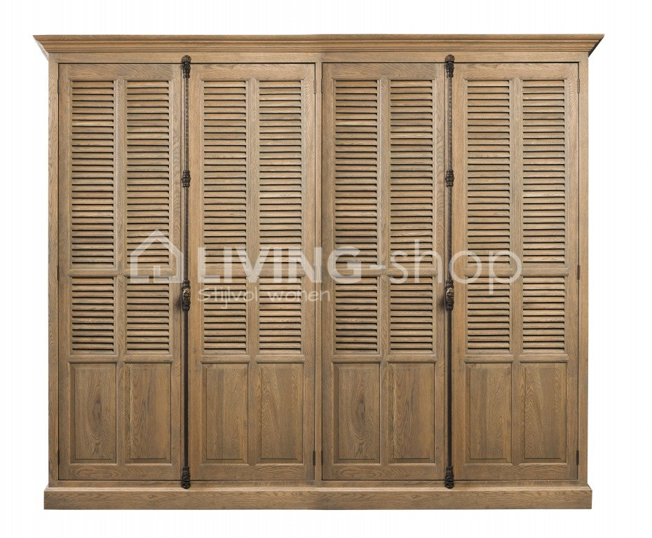 Slaapkamer Country Style : Country style oak wooden louvered wardrobe with doors online
