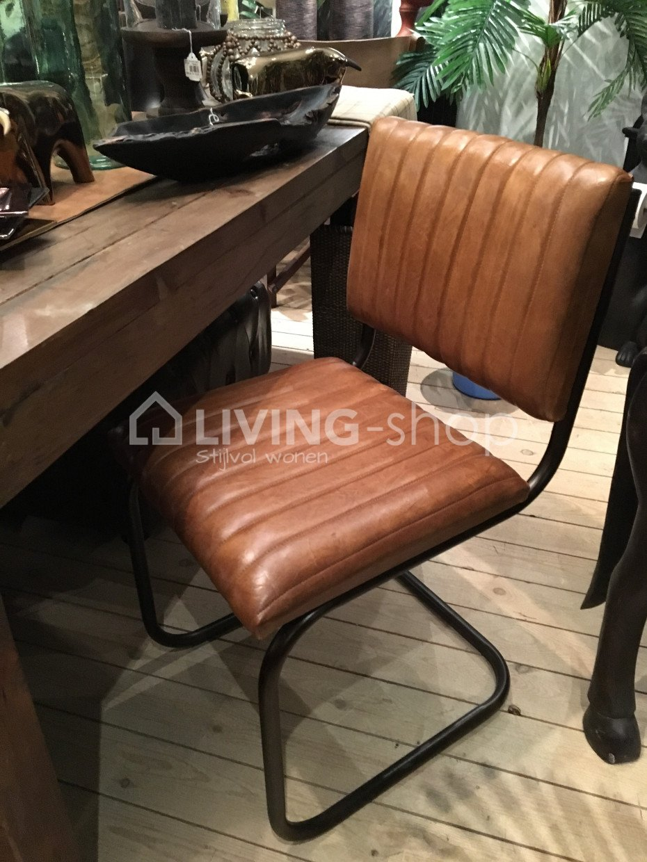 design-stoel-modern-leder-metaal-cognac-j-line