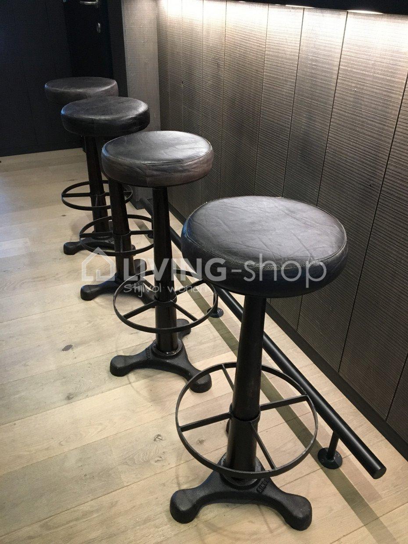 tout neuf 3aed3 0902a Tabouret bar cuir métal noir J-LINE vente en ligne ✓LIVING ...