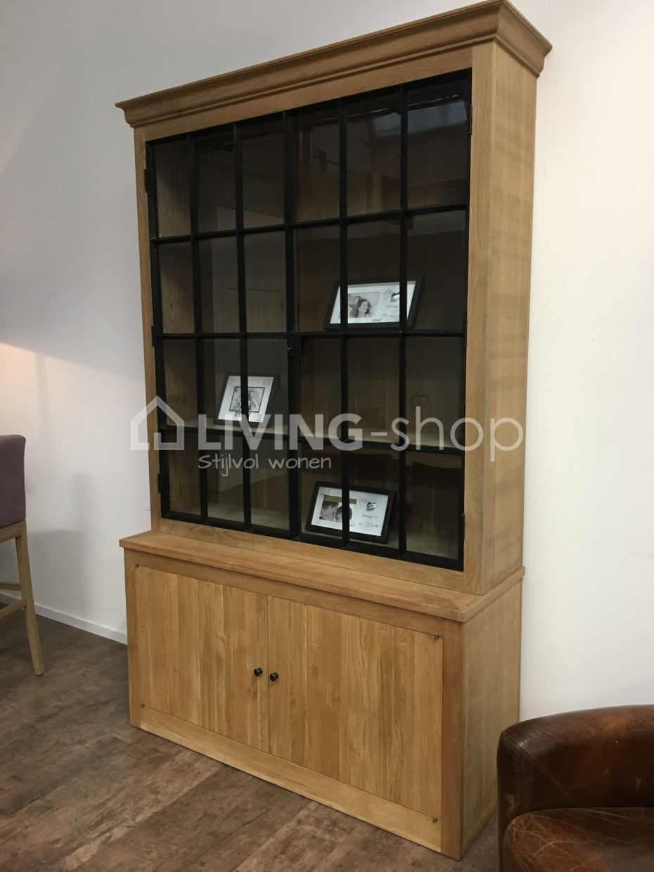 Oak Display Cabinet With Black Iron Black Forgings Pr