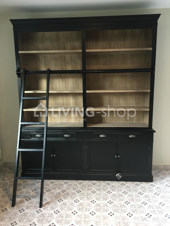 zwarte-boekenkast-bibliotheekkast-met-ladder