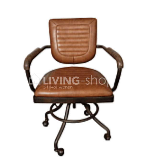 Vintage Bureau Bureaustoel.Vintage Leather Brown Office Chair Iron Frame Best Buy Online