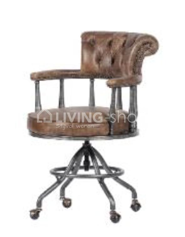 Luxe Leren Bureaustoel.Vintage Lederen Bureaustoel Whiskey Bureaustoel Komen Living