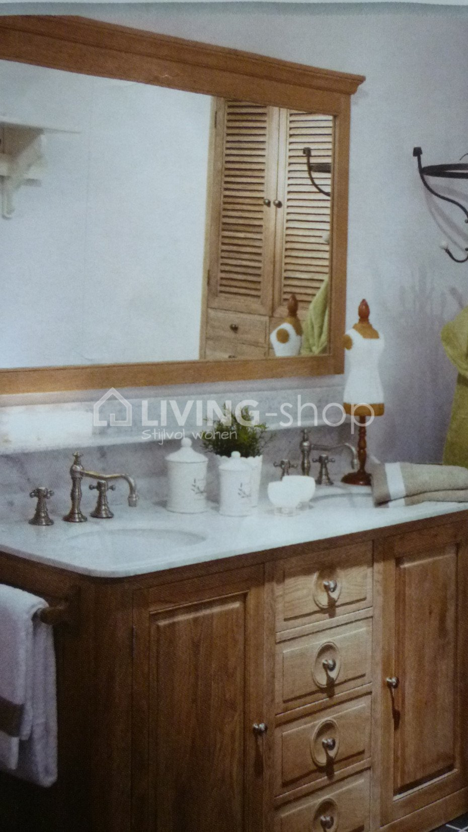 landelijke stijl badkamermeubels met 1 of 2 wastafels