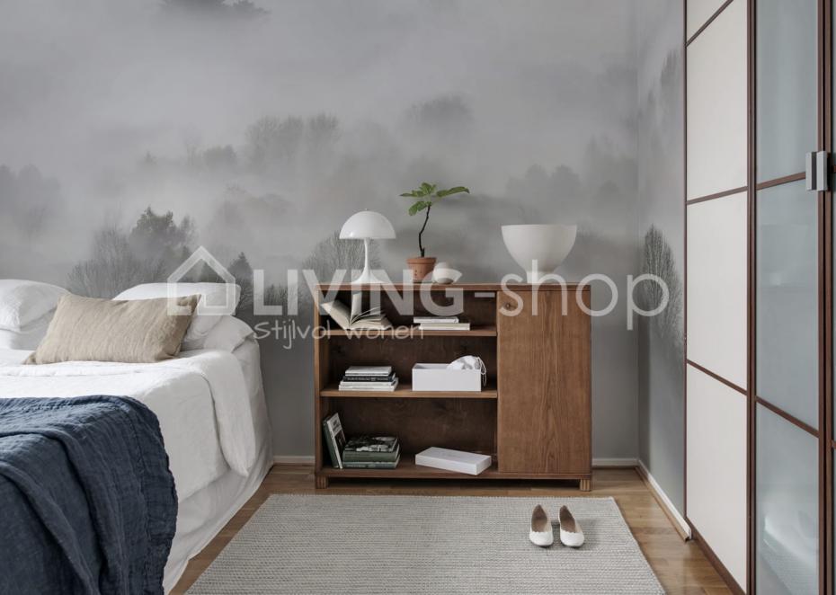 Slaapkamer behang nodig behang morning mist rebel walls is