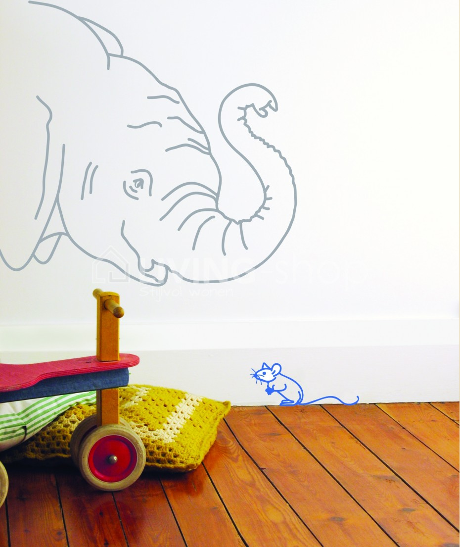 grote-muursticker-olifant-en-blauwe-muis-mimi-lou