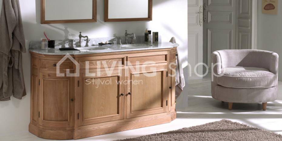 Landelijk badkamermeubel dubbele lavabo\'s wastafels online kopen ...