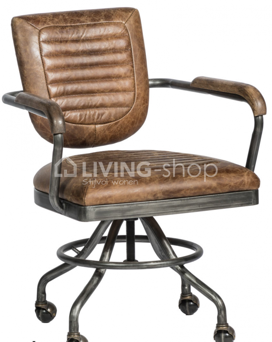 Bureaustoel Bruin Leer.Vintage Leder Bureaustoel Online Kopen Living Shop Stijlvol