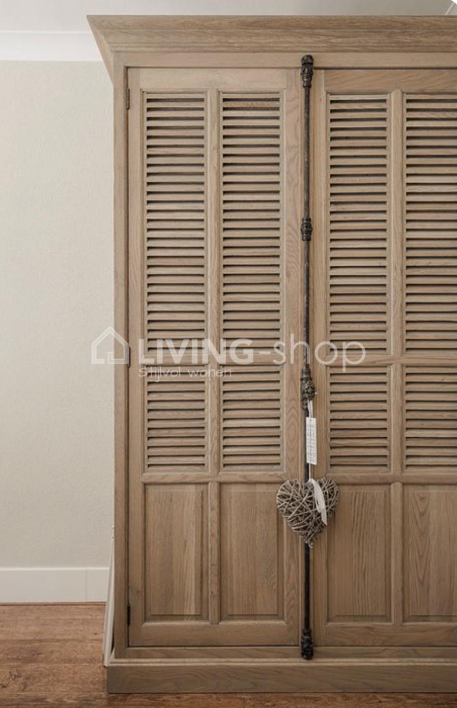 Classic Oak Wardrobe Cabinet Louvered Doors Living Shop Webshop