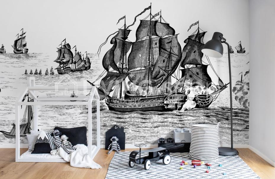 piratenbehang kinderkamerbehang jongenskamer behang piraat