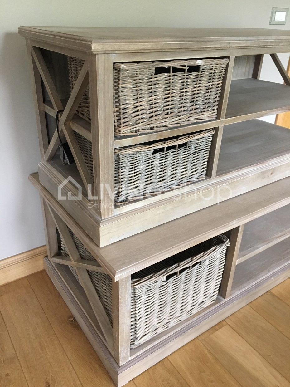 Tv Kast Wit Met Rieten Manden.Country Style Tv Cabinets With Baskets J Line Living Shop Online